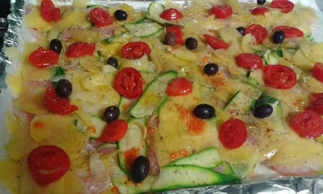filetti di pesce persico  al forno con verdure