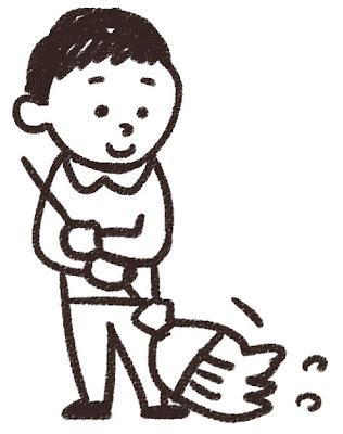 掃除をしている男の子のイラスト 白黒線画
