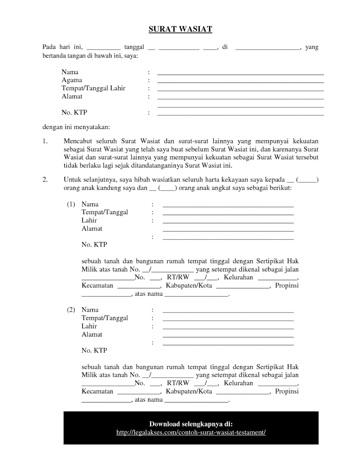Kumpulan Contoh Surat Wasiat
