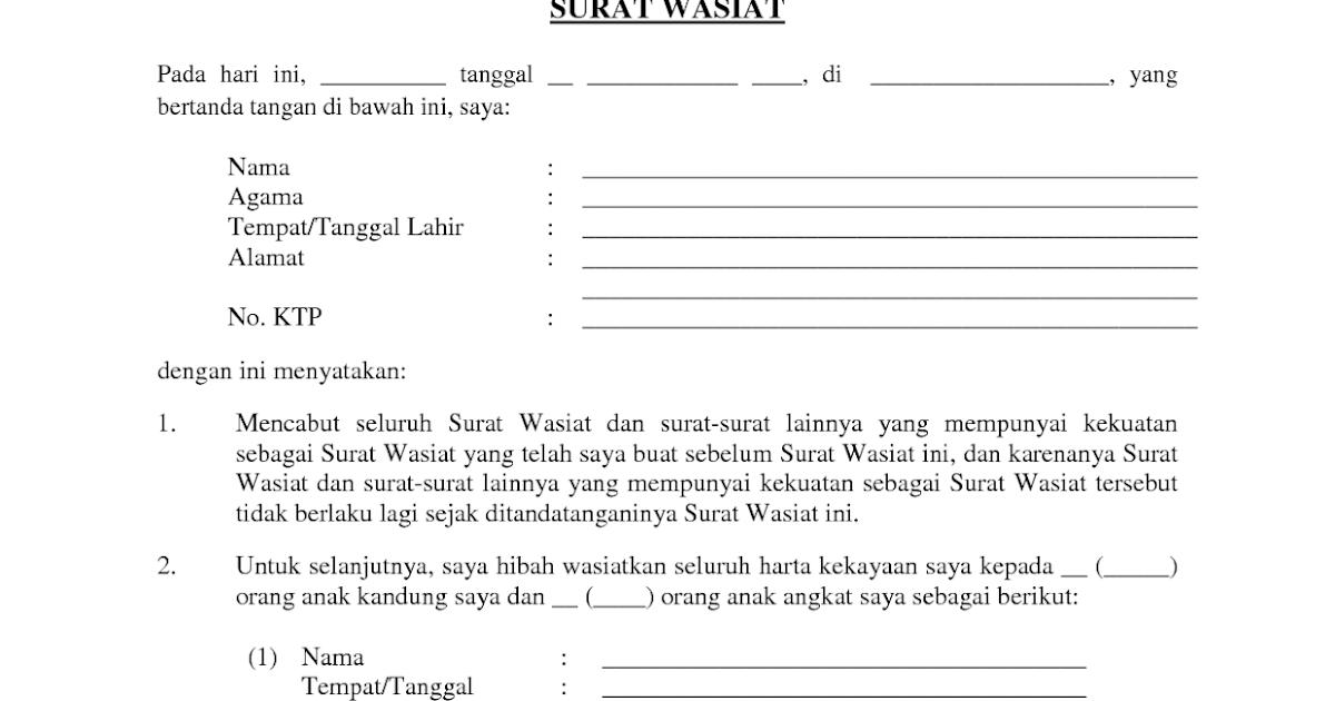 Contoh Surat Wasiat Warisan