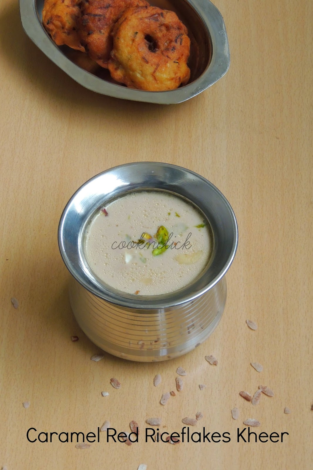 Caramel Red Riceflakes Kheer/Caramel Aval Payasam
