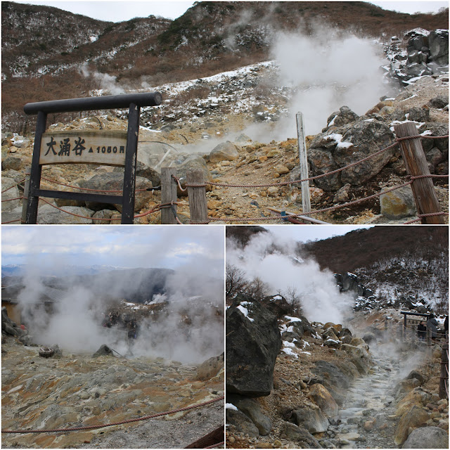 Sulfurous fumes and hot springs at the top peak of Owakudani Volcanic Hakone Valley in Japan