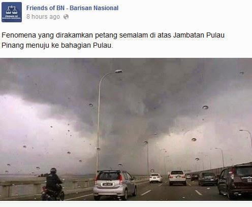 berita palsu Puting Beliung Di Pulau Pinang