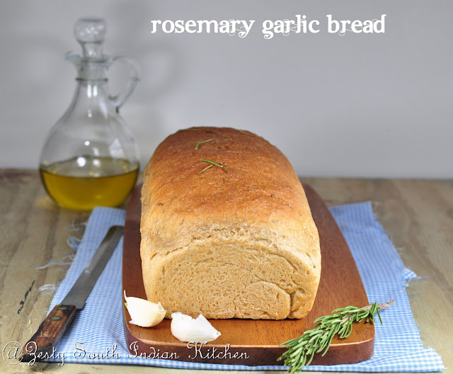 Whole Wheat Rosemary Garlic Bread - Zesty South Indian Kitchen