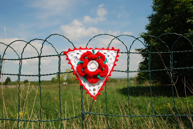 image of Lancashire red rose crochet bunting