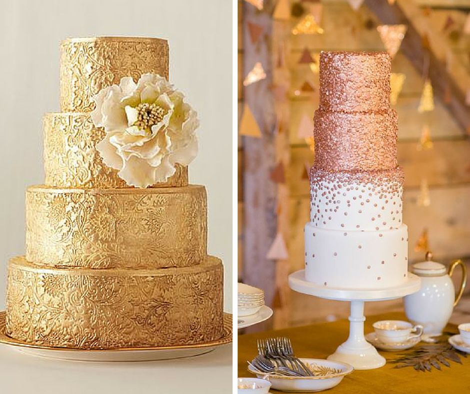 златна сватбена торта с голямо цвете