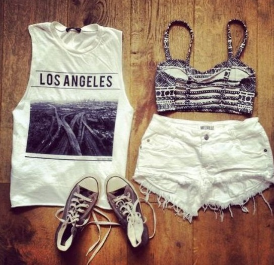 White Ripped Shorts With Printed Singlet