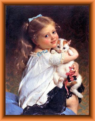 niña con gatito de Emile Munier