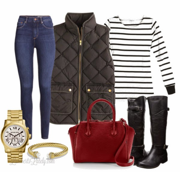 Puffy Vest, Black and Red - Fall Fashion