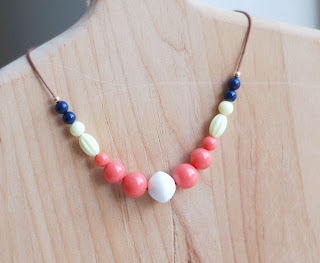 Long or short bead statement necklace handmade from recycled vintage beads