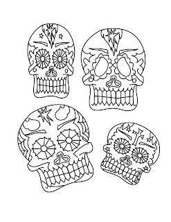 Dibujos para colorear del dia de los muertos calaberas de dulce