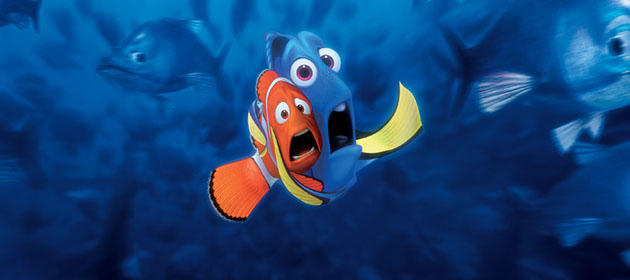 two frightened fish in Finding Nemo 2003 animatedfilmreviews.filminspector.com
