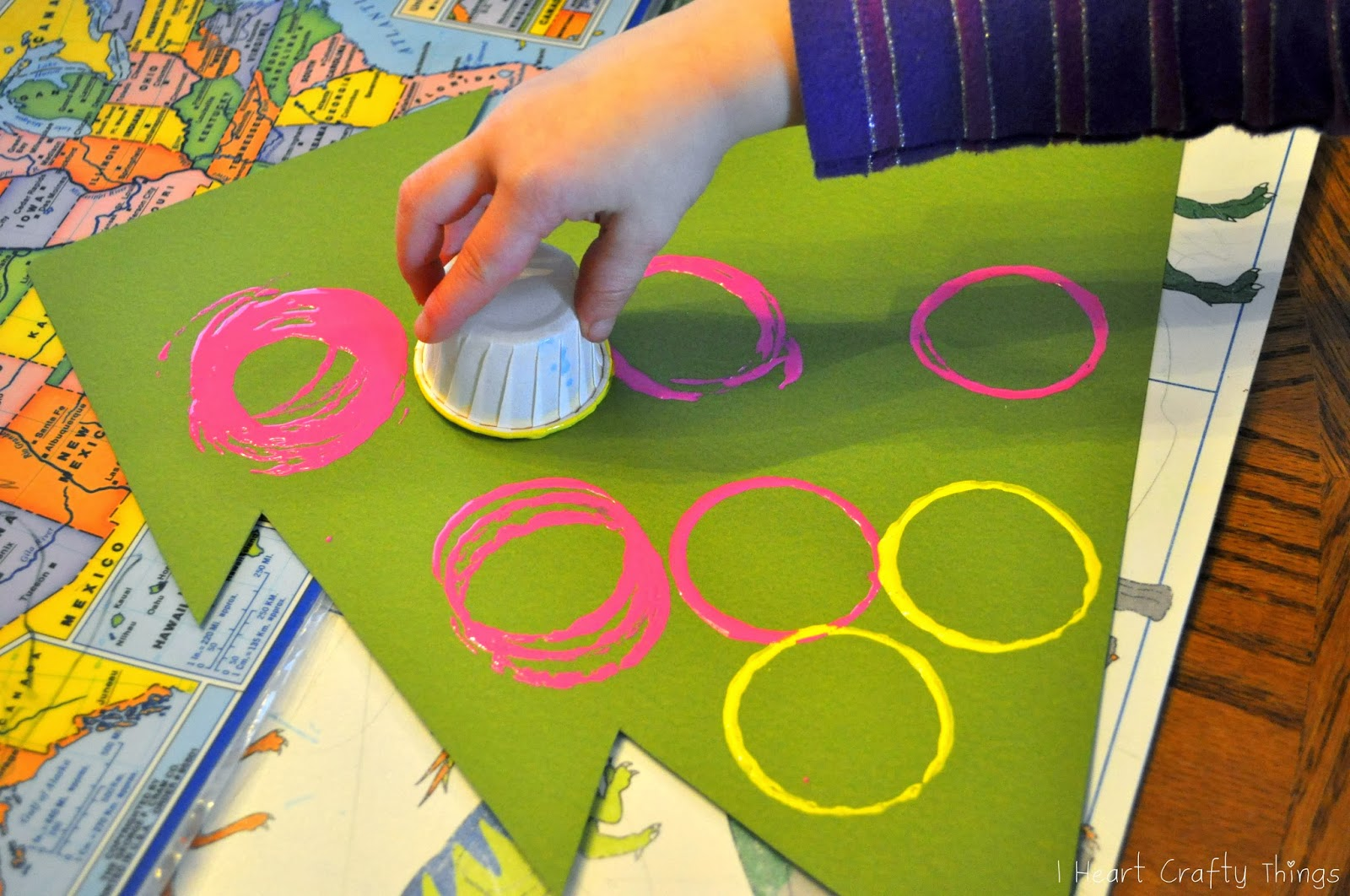 Continue Making Circle Stamps All Over Your Tree Until It Is Full Or Colorful Ornaments Let The Paint Dry Completely