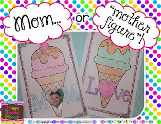 image Mom o rMother Substitute Mothers Day Cards Mom or Love as word with heart as o on ice cream cones
