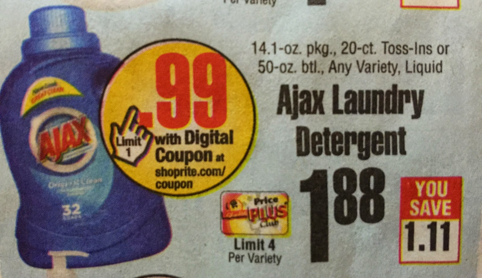 Shoprite Can Can Sale 2015 - Here s a nice and easy deal at shoprite starting sunday ajax laundry detergent will be on sale and we have an ecoupon coming sunday that we can use to get