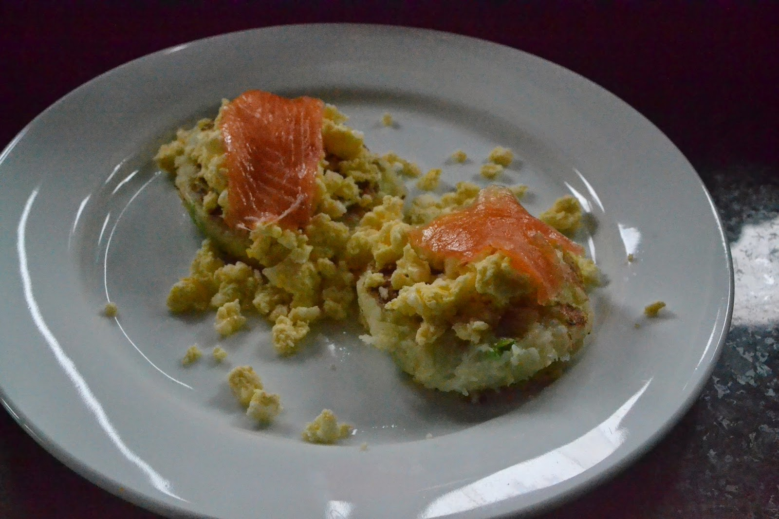 Salmon Potato Cakes with Scrambled Eggs