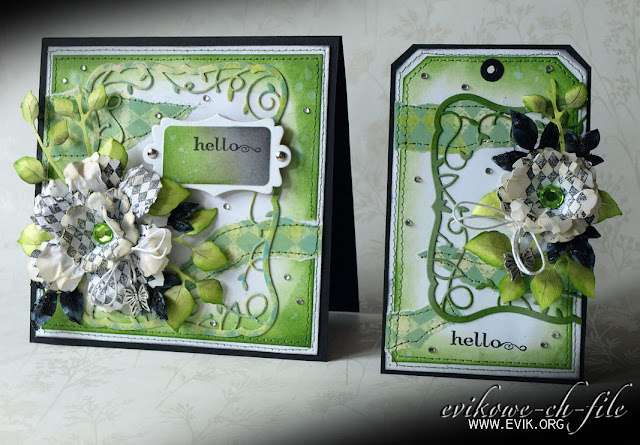 Sizzix Tim Holtz, Bigz Die,Tattered Florals, Memory Box Twirling Vine Frame (98299), Distress ink moved lawn