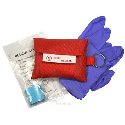 MCR Medical Supply CPR keychain with Ambu mask and gloves