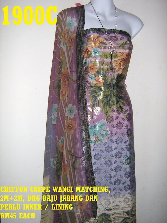 CCW 1900C: CHIFFON CREPE WANGI MATCHING, 2M+2M, BHG BAJU JARANG DAN PERLU INNER / LINING