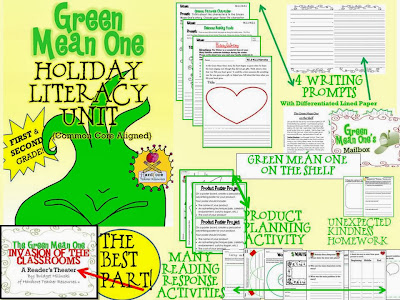 http://www.teacherspayteachers.com/Product/Green-Mean-One-Holiday-Literacy-Unit-Common-Core-FIRST-GRADE-SECOND-GRADE-432726