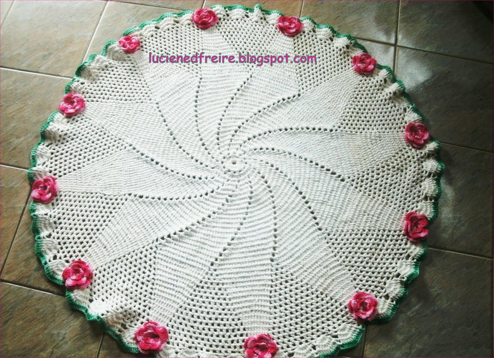 Cia Do Croch Tapete De Sala Com Flores -> Tapetes De Croche Para Sala