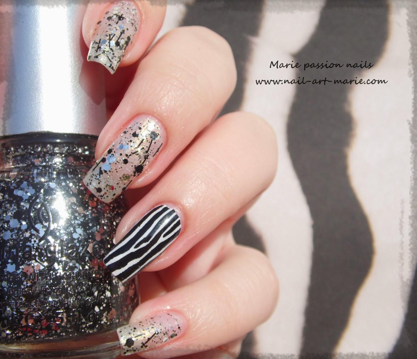 Nail art accent nail zébré1
