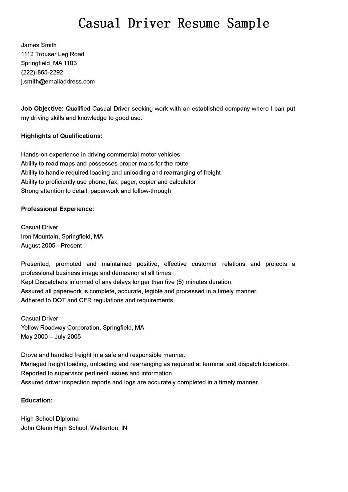 Curriculum Vitae Driver Resume