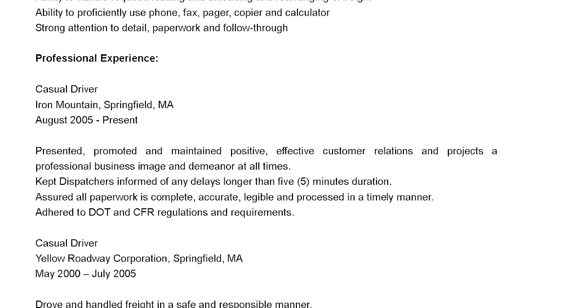 Driver Resumes Casual Driver Resume Sample – Sample Driver Resume