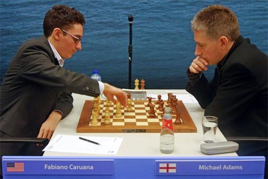 Après un gain ronde 3 contre Michael Adams, Fabiano Caruana est maintenant à 2.5 points sur 3