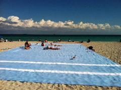Ladillas en una playa inmensa con toallas gigantes