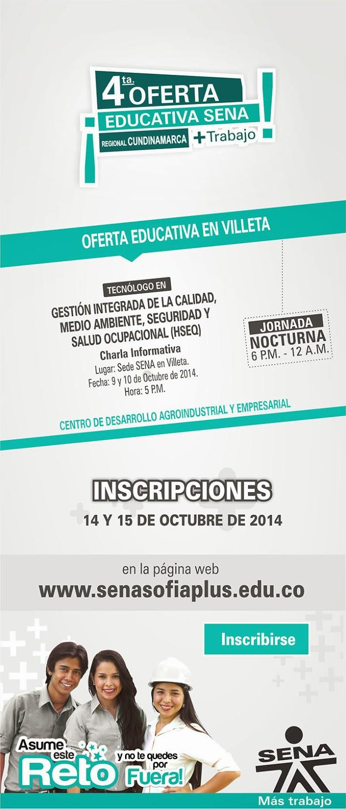 Cuarta oferta educativa extraordinaria SENA 2014