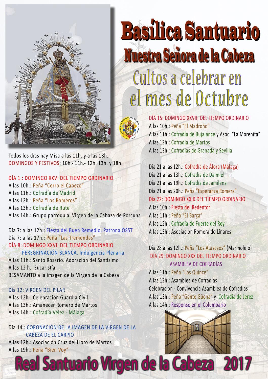 CULTOS OCTUBRE 2017 EN EL SANTUARIO.