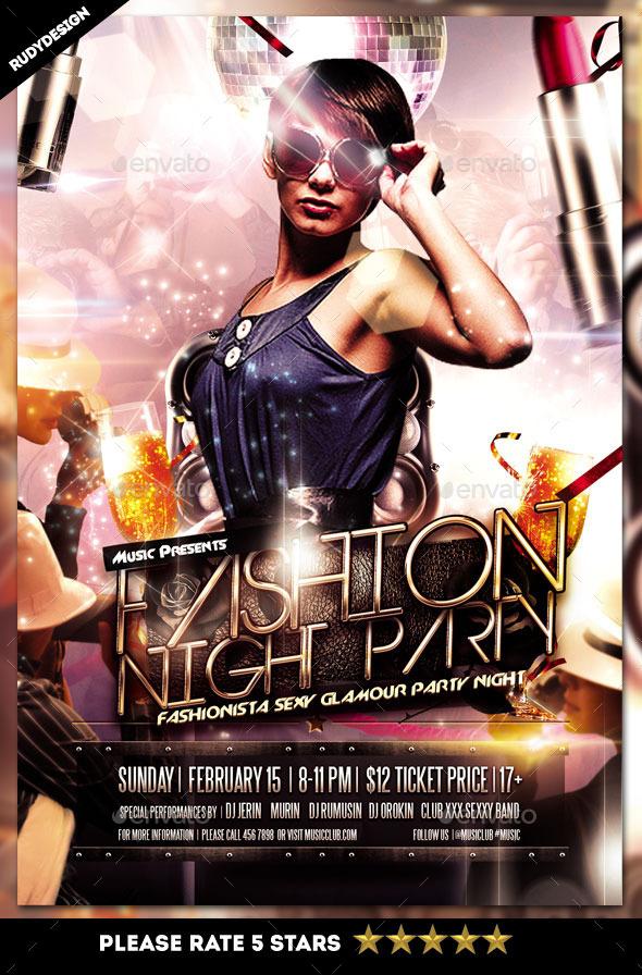 fashion night party flyer sungaigrafik