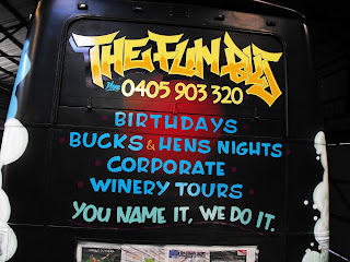 The Fun Bus painted with spray cans and brushes with stu dobell Aedan Howlett Sydney New South Wales Australia Traditional Signwriters Australia airbrush