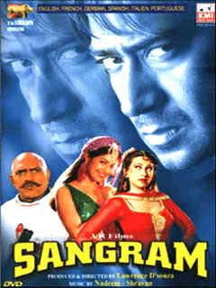 Sangram (1993 - movie_langauge) - Ajay Devgan, Ayesha Jhulka, Karisma Kapoor, Amrish Puri, Danny Denzongpa, Reema Lagoo, Laxmikant Berde, Vikas Anand, Asrani, Brahmachari, Avtar Gill, Dinesh Hingoo, Satyendra Kapoor, Anjana Mumtaz, Tej Sapru