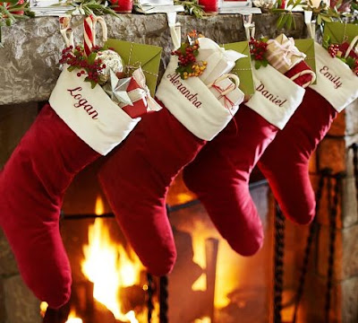 Christmas Decorating: Monogrammed Red Velvet Christmas Stockings