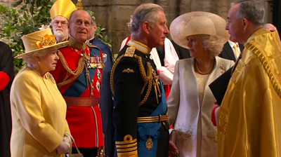 The Royal Family arrive at Westminster Abbey: Queen Elizabeth, Prince Philip, Prince Charles and his wife Camilla Parker Bowles, Dutchess of Cornwall. YouTube 2011.