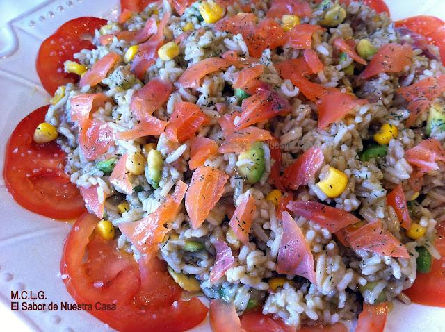 Ensalada de arroz con aguacate y salm n ahumado - Ensalada con salmon y aguacate ...