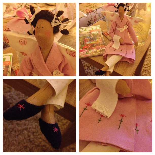 Craft and Decorate Blog - Tilda doll, dressing gown angel, handmade, embroidery