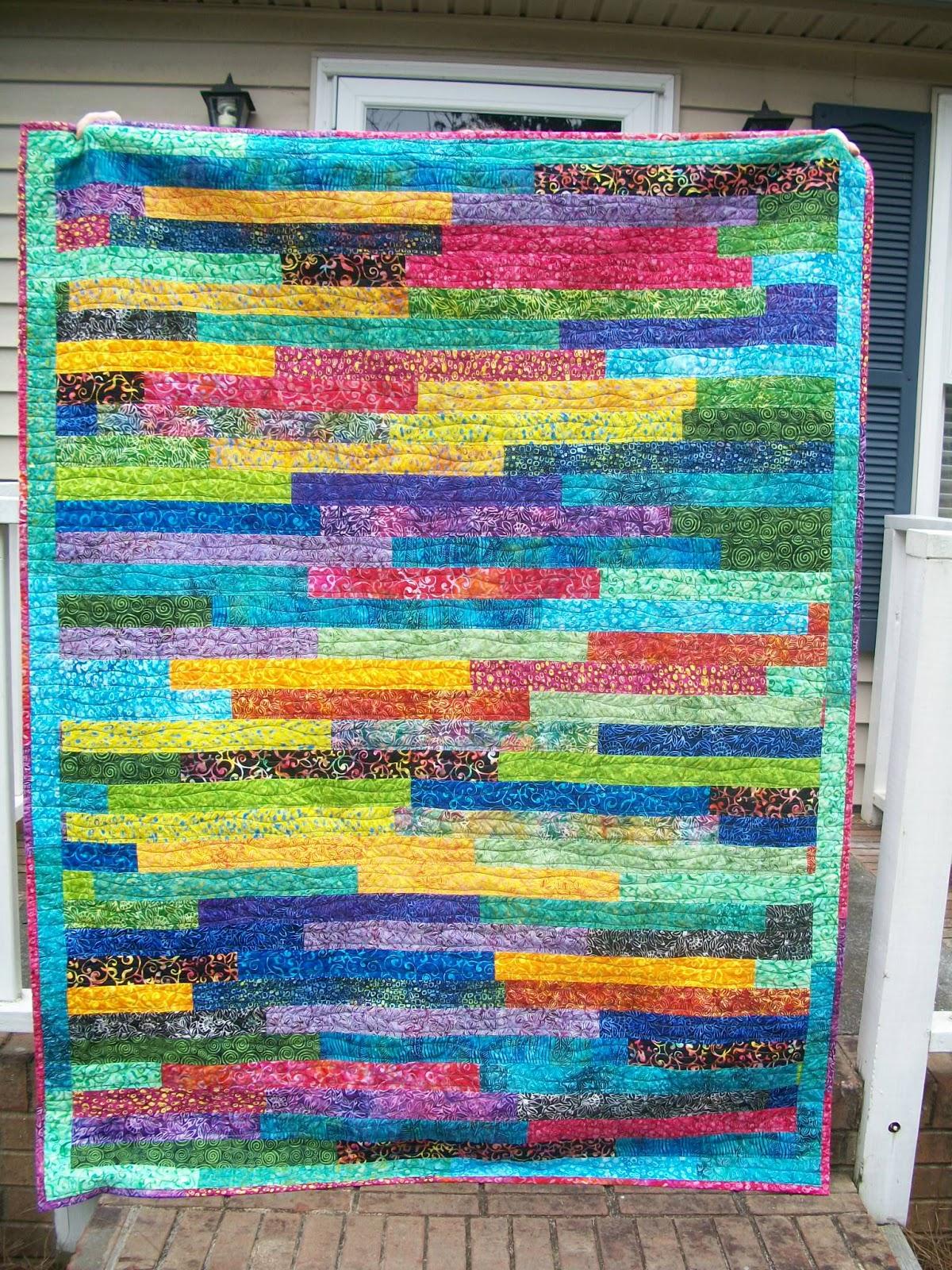 Sew Cook and Travel: Rainbow Batik Strip Quilt Finish : strip quilt - Adamdwight.com