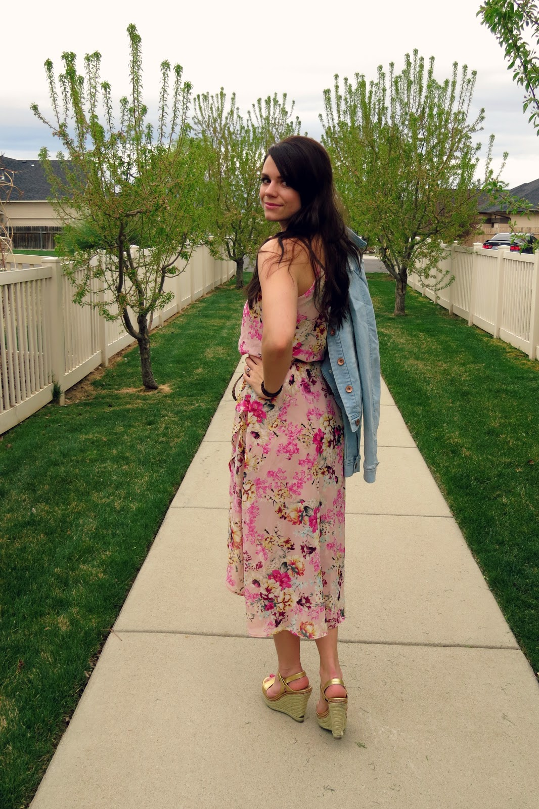 high-low floral dress and jean jacket