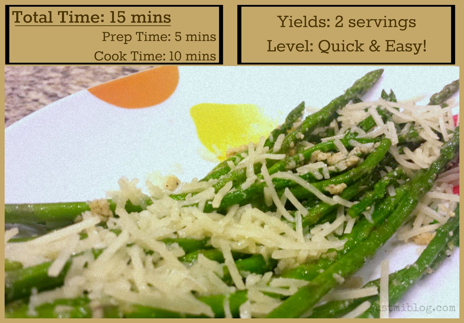 Total time, serving sizes, and cooking level for asparagus and Parmesan cheese.