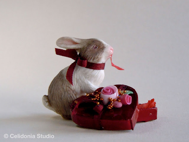 valentine's rabbit sculpted in polymer clay