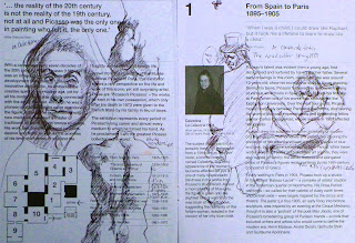 sketch of Picasso drawings and paintings by artist Jane Bennett