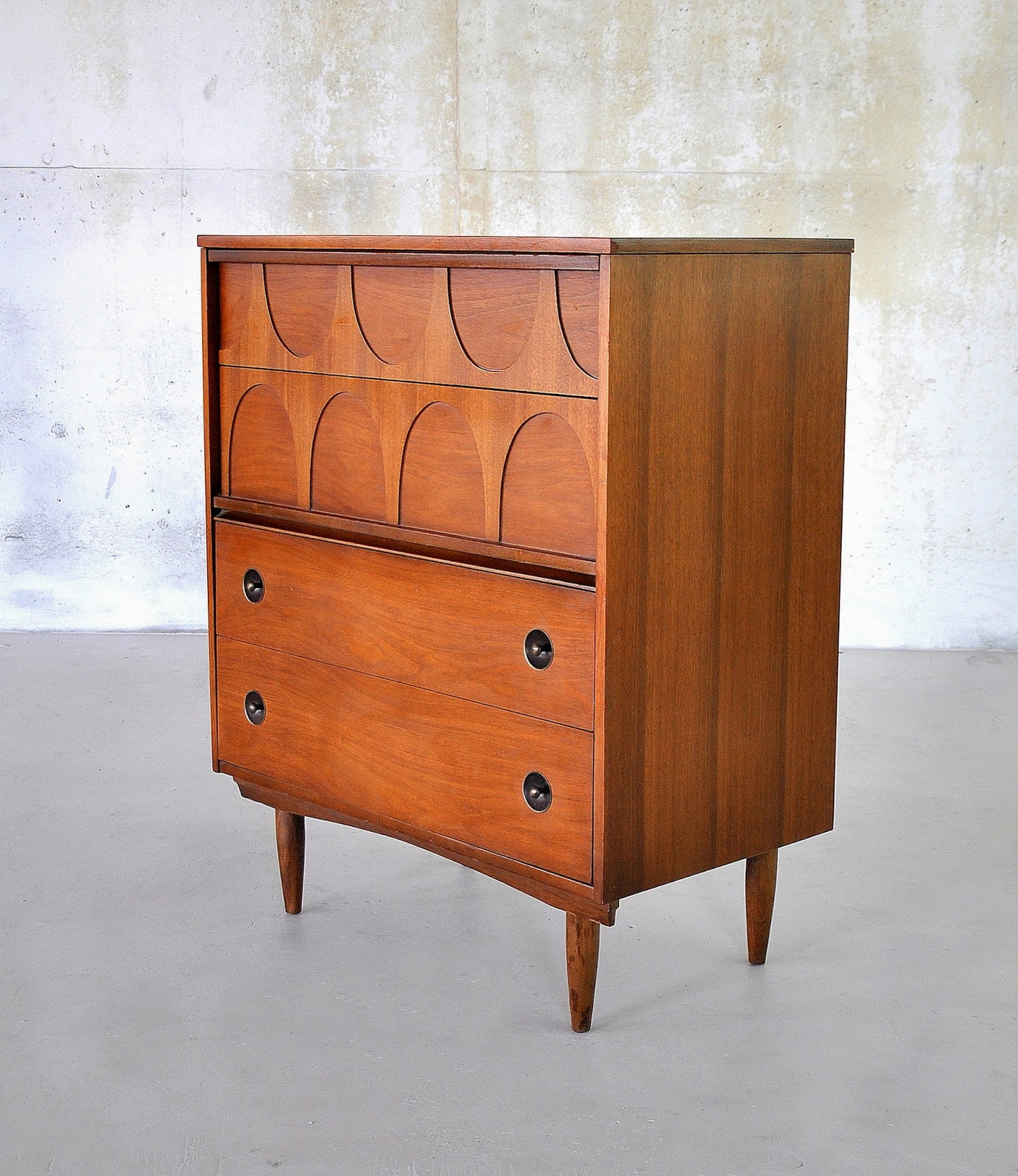 select modern mid century modern walnut highboy or gentleman 39 s chest of drawers. Black Bedroom Furniture Sets. Home Design Ideas