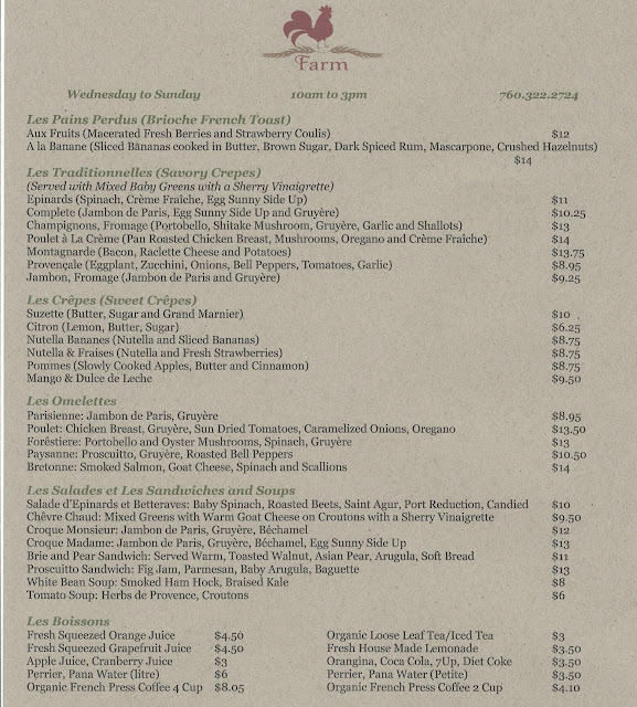 Farm food menu palm springs