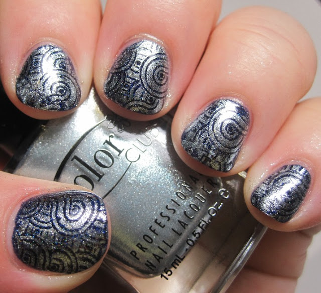stamped with a mysterious blue metallic Color Club