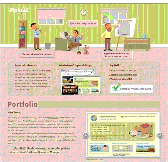 MplusZ - Website design using drawings and illustration