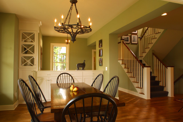 Cozy Classic Chandelier above the Simple Wooden Dining Room Tables And Chairs on the Wooden Floor